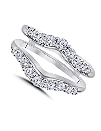 0.50ct CZ Simulated Diamond Ring Solitaire Enhancer Guard Wrap in 14K White Gold Over Alloy Women Jewelry