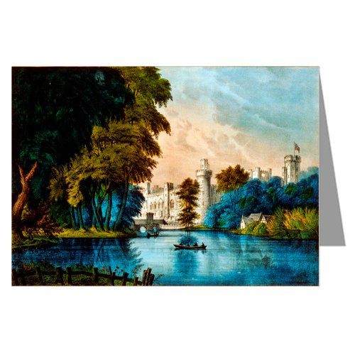 12 Notecards of Currier And Ives Handcolored Lithograph depicting the Warwick Castle - on the Avon.