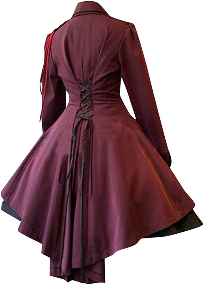 Lazapa Halloween Hoodie Robe Stitching Long Sleeve Tie Dress V-Neck Fashion Wrap Dress Women Men Cloak Cosplay Party Dress Halloween Costume