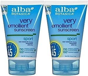Alba Botanica Sport Sunblock SPF 45-4 oz, 2 pack