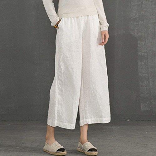 Palazzo Glamorous Larga Tempo Vita 7 Fashion Estivi Vintage Bianca Semplice Eleganti Pantaloni Sciolto 8 Accogliente Libero Gamba Lino Donna Elastica Haidean aSpqOp