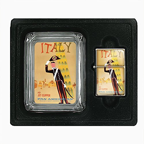 Glass Ashtray Oil Lighter Gift Set Vintage Poster D-085 Italy Via Jet Clipper Pan American World's Most Experienced Airline