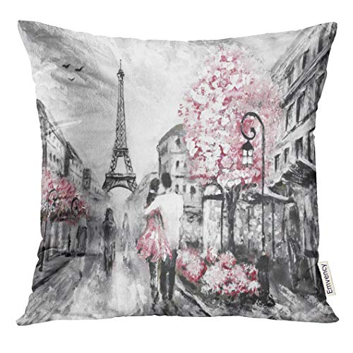 (Emvency Throw Pillow Cover Watercolor Love Oil Painting Street View of Paris European City Landscape Pink Sketch Decorative Pillow Case Home Decor Square 20x20 Inches Pillowcase)