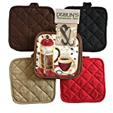 5 (FIVE) Sets of The Home Store Cotton Pot Holders, 2-ct. Color Variety Pack Kitchen Cooking Chef Linens (French Press)