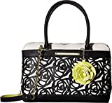 Betsey Johnson Womens Roses Satchel Bone/Black One Size