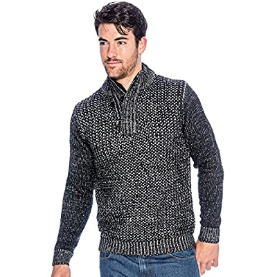 9 Crowns TR Men's Check Rib Sweater with Zip Collar by Essentials free shipping