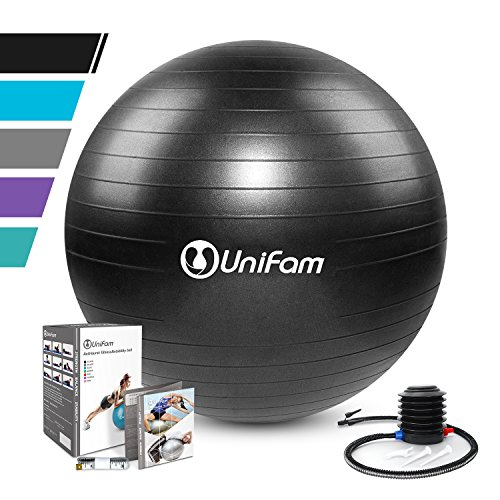 Exercise Stability Ball Chair with Hand Pump Use For CrossFit, Yoga, Balance & Core Strength Training, Non-Slip & Anti-Burst Extra Thick Fitness Ball(Black&55CM)