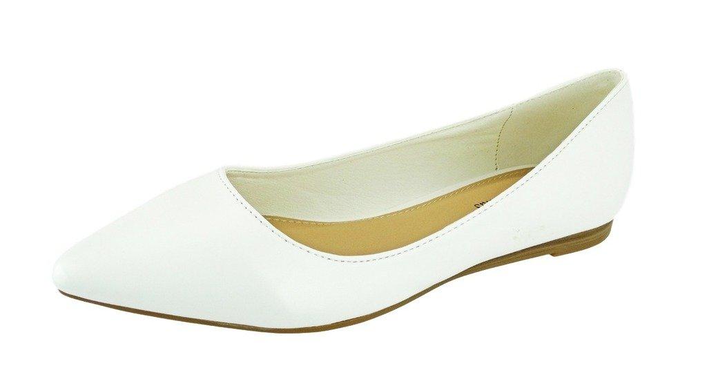 Pierre Dumas Women's Abby-10 Vegan Leather Pointed Toe Slip-On Fashion Dress Flats Shoes B06VSJM4P4 6.5 M US|White