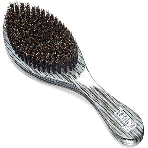 Torino Pro Wave Brush #520 By Brush King - Medium Curve Wave Brush - Made with 100% Boar Bristles -True Texture Medium - All Purpose 360 Waves Brush for Men (Torino Stock)