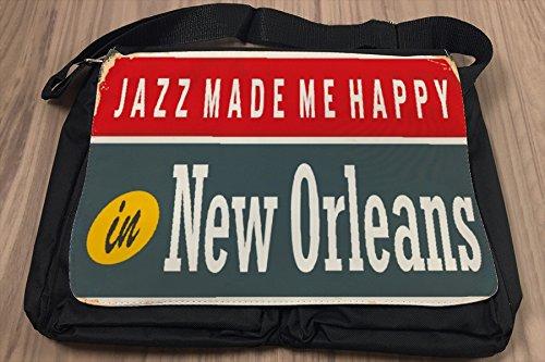 Borsa Tracolla Retro Arte Metropole Jazz New Orleans Stampato