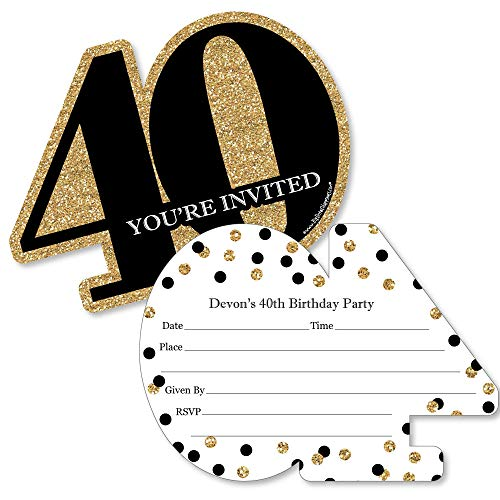 Custom Adult 40th Birthday - Gold - Personalized Birthday Party Invitations - Fill in Invitation Cards with Envelopes - Set of 12