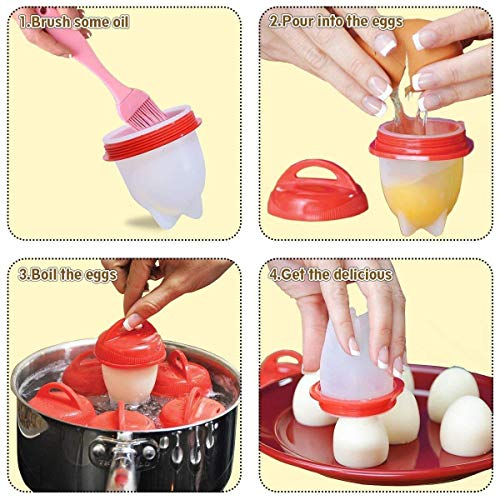 AMEU Cuecehuevos, Silicona Egg Cooker Cocer Huevos, 7 PCS Cocedor Huevos Salud Y Seguro Huevos Escalfados Cocedor: Amazon.es: Hogar
