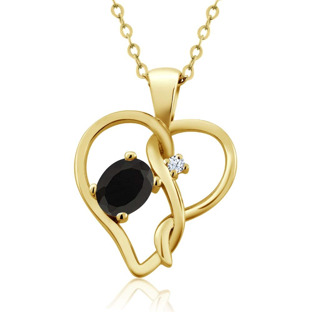 Gem Stone King 0.40 Ct Oval Black Onyx White Topaz 18K Yellow Gold Plated Silver Pendant