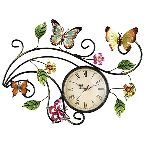 Metal Scrolling Butterfly Clock Multi Colored