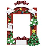 Personalized Dear Santa Photo Frame Christmas Ornament for Tree 2018 - Red Generic Picture Display with Bow Presents Lights - Baby's First Memory Family Milestone Visit Grand-Kids Free Customization