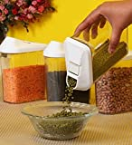 DeoDap Cereal Dispenser Easy Flow Storage Jar 750ml 3 Pcs Set, Idle for Kitchen- Storage Box Lid Food Rice Pasta Container