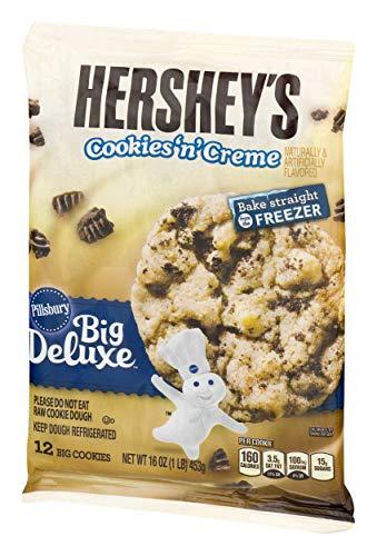 Pillsbury Ready to Bake Refrigerated Cookies Big Deluxe Hershey's Cookies 'n' Crème 12 Count 16.0 oz Pack -