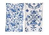 Heart of America 2 Assorted Blue Floral Cotton Tea Towels - 12 Pieces