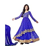 Fab Glory Womens Semi Stitched Net Anarkali Salwar Suit (Blue)