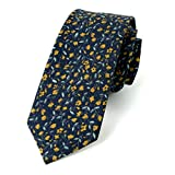 Spring Notion Men's Cotton Printed Floral Skinny Tie - Navy/Orange