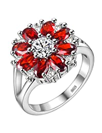 HMILYDYK 925 Sterling Silver Plated Cubic Zirconia Blooming Flower Bridal Finger Ring Charming Ruby Crystal