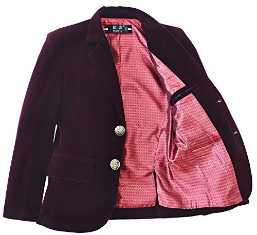 Yuanlu Boys Single-Breasted Velvet Burgundy Blazer Size 4