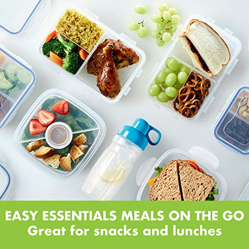 LOCK & LOCK Easy Essentials On The Go Meal Prep Lunch Box, Airtight Containers with Lid, BPA Free, Rectangle (3 Section) -27 oz, Clear