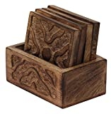 """BEST DEALS - Wooden Drink Coasters """"Crossroads"""" Set of 4 HANDMADE Coaster with Holder - 3.9"""" Beverage Coasters for Water Glass / Beer Cans / Bar Tumblers - OLD WORD ART STYLE by SouvNear"""