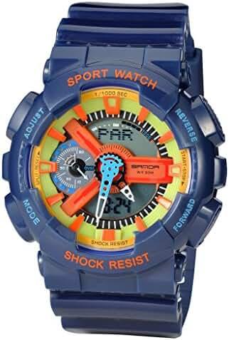 Kid's Dual Dial Analog Digital Waterproof Children Students Watch Chronograph Sport Wrist Watch Blue