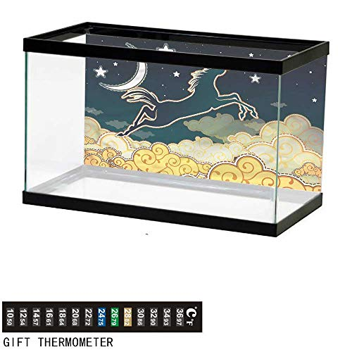 bybyhome Fish Tank Backdrop Fantasy,Horse Silhouette Jumping,Aquarium Background,48