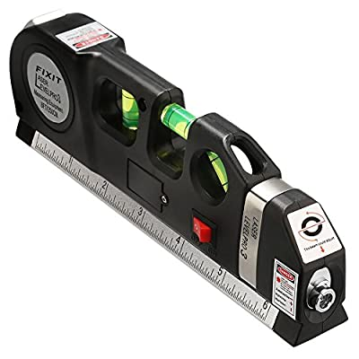 Brillife Laser Level Measure Line Lasers Ruler 8ft+ Standard & Metric Measure Tape