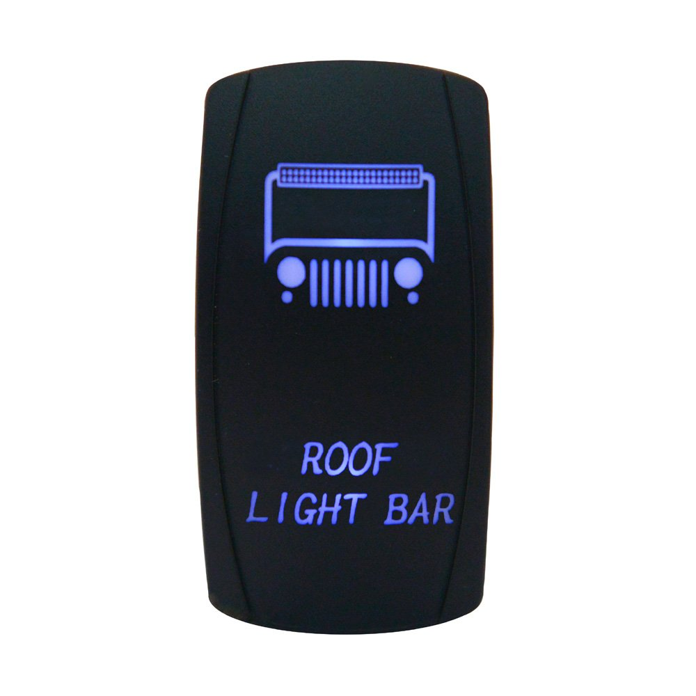 Cllena Car Toggle Switch Laser Blue LED Rocker Switch 5 PINS for Car Motor Boat(Roof Light Bar)