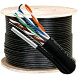 Vertical Cable Cat5e, 350 Mhz, UTP, UV Jacket, Outdoor, CMX, Messenger, 1000ft, Black, Bulk Ethernet Cable, Wooden Spool