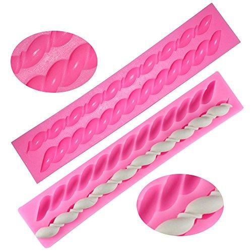 Moldes de cuerda de silicona Fondant Twist, forma de buñuelo, FineGood 2 paquetes de herramientas de cocina de pasta de...