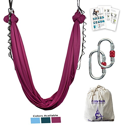 Hammock Sling (Aerial yoga hammock kit Include daisy chain ,carabiner and pose guide (Burgundy))