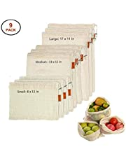 Reusable Produce Bags, i.VALUX 9 Pack Grocery Bags for Fruits, Vegetable, Food, Storage - Organic Cotton Mesh Bag with Drawstring, Tare Weight on Label, Washable - Zero Waste Reusable Shopping Bags