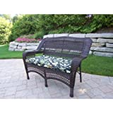 Resin Wicker Aluminum Frame Loveseat Fabric: Bamboo