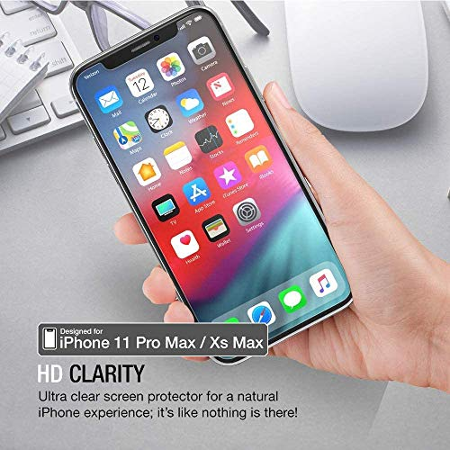 XDesign Glass Screen Protector Designed for Apple iPhone 11 Pro Max/iPhone Xs MAX (3-Pack) Tempered Glass with Touch Accurate and Impact Absorb+Easy Installation Tray [Fit with Most Cases] - 3 Pack