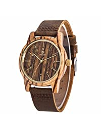 Morrivoe Men Watch Natural Wood 50mm Case Analog Display Japan Quartz Wristwatches with Leather Strap Gift Box (Brown)