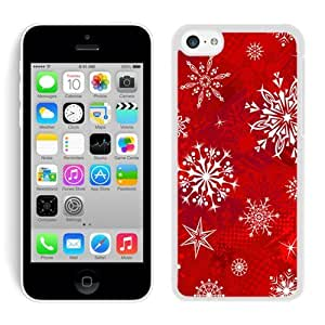 Iphone 5C Case, Sparkle Stars Snowflakes Blue Pattern Iphone 5C Case - White Frame Ultra Fit Hard Case Shock-Absorption Bumper with Anti-Scratch Hard Case for Iphone 5C