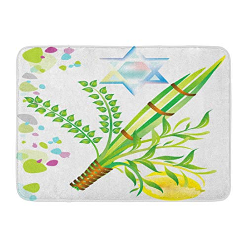 Emvency Doormats Bath Rugs Outdoor/Indoor Door Mat Lulav Jewish Holiday of Sukkot Israel Mitzvah Myrtle Leaf Festival Bathroom Decor Rug Bath Mat 16