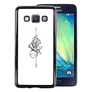 A-type Arte & diseño plástico duro Fundas Cover Cubre Hard Case Cover para Samsung Galaxy A3 (White Six Snake Sword Skull Tattoo Ink)