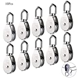 10Pcs M20 Single Pulley Block(20mm), AUHOKY 304 Stainless Steel Hanging Wire Pulley Roller, Swivel Lifting Wire Rope Cable Towing Wheel - Loading 75kg/165lbs