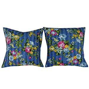 Patrón decorativo hecho a mano azul Funda de almohada 60X60cm Floral Kantha Stitch Cojín Arte Regalos 24 pulgadas