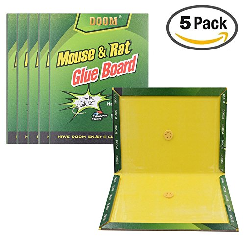 Mouse trap, 5 Pack Mouse And Rat Glue Boards, Mouse Glue Traps, Mouse Size Glue Traps Sticky Boards Rat Terminator Powerful Effect (5-Pack)