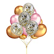 Home Kitty Happy Birthday Balloons,Gold Confetti Balloons with 12'' Gold and Pink Color Latex Party Balloons for Birthday Baby Shower Party Decorations Supplies