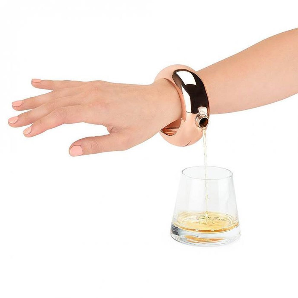 Bracelet Flask with Funnel,Creative Hidden Stainless Steel Bracelet Flask for Storing Whiskey/Alcohol 3.5oz (Rose gold)