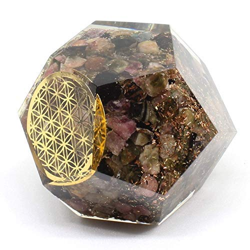 Orgonite Crystal – Emf Protection Multi Tourmaline Healing Chakra – Flower of Life Orgone Energy Generator Orgonite Dodecahedron Crystal for – Heal Depression Self-Empowerment Mood Swing Relief