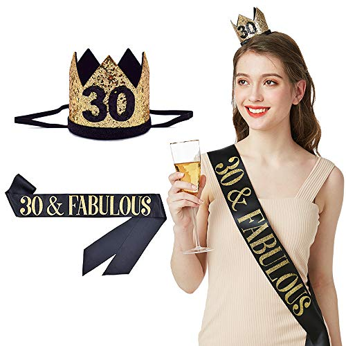 30 and Fabulous Sash & Birthday Crown- 30th Birthday Sash 30 Birthday Gifts Birthday Party Accessories (Black & Glitter Gold)
