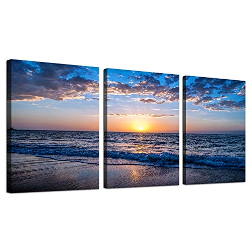 Hyidecor Art 3 Piece Canvas Wall Art -Sunrise blue sea view Landscape - Modern Home Decor Room Stretched and Framed Ready to Hang - 12